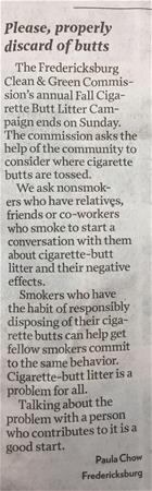 letter to editor in Free Lance Star about cigarette butt litter