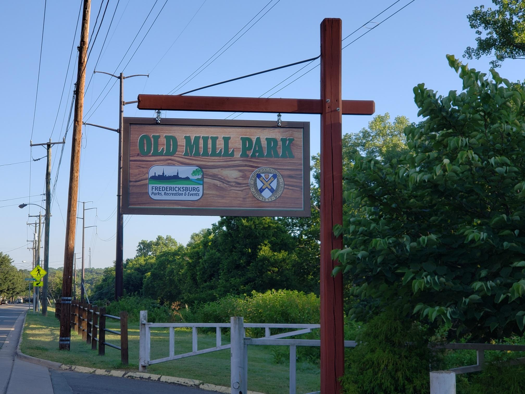 New Sign at Old Mill Park Entrance